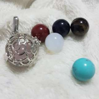 Hollow cage pendant come with 6 little gem balls