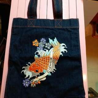 日本 牛皇EVISU 刺繡 tote bag