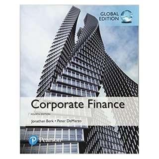 Corporate Finance, Global 4th Edition BY Jonathan Berk  (Author),‎ Peter DeMarzo (Author)