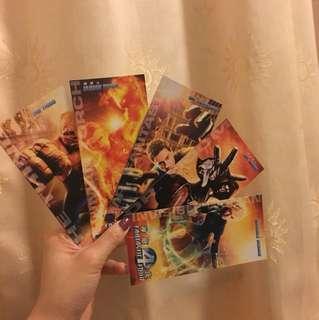 包郵 神奇四俠 Fantasia Four Postcard 一套五張