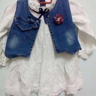 Cotton dress with FREE jean cardigan