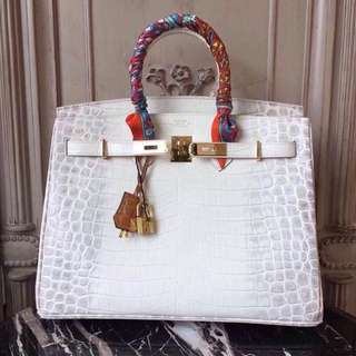 White Hermes Shiny Crocodile Birkin Bag with Gold Hardware
