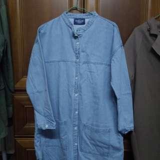 中山領排釦口袋牛仔洋裝