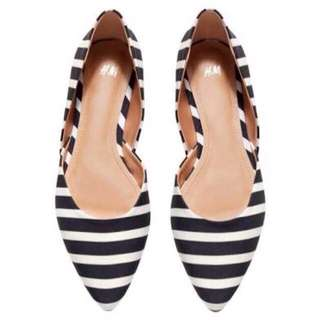 H&M Flats Black n' White Stripes