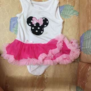 Baby girl pink mickey romper tutu dress
