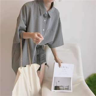 復古小格子 黑白色細格紋寬鬆短袖襯衫 長版 大口袋