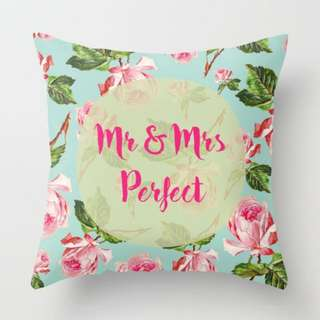 Mr & Mrs Perfect Floral Pattern Cushion Throw Pillow Cover