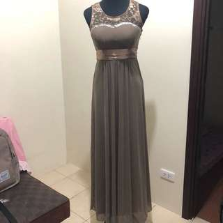 Brown Long Gown For Rent