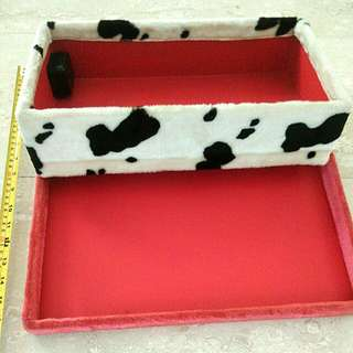 Unusual Musical Fluffy/Velvety Dalmatian Pattern Box with Red Lid