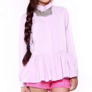 DRMERS Long Sleeve Ruffle Shirt in Lilac