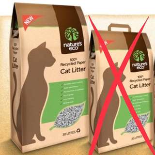 30L 100% Recycled Nature's Eco Recycled Paper Cat Litter 30L Cat Litter