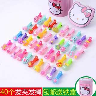 40 hair clips + FREE Hello Kitty container