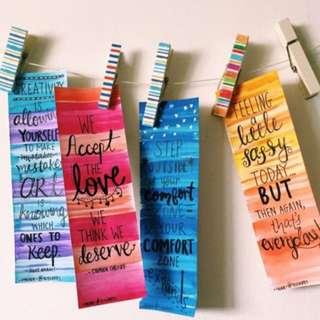 Customised bookmarks~handwritten
