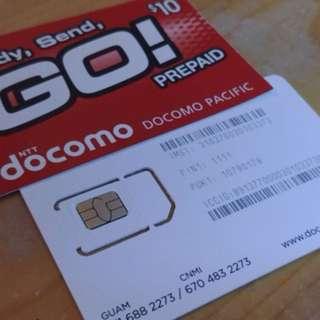 關島本地DOCOMO電話及上網卡連USD10充值卡
