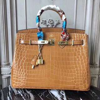 Hermes Shiny Ficelle Porosus Crocodile Birkin Bag with Gold Hardware