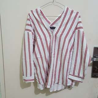 ZARA Red Stripe Blouse [not ori]