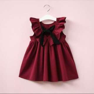 Maroon dress with ribbon
