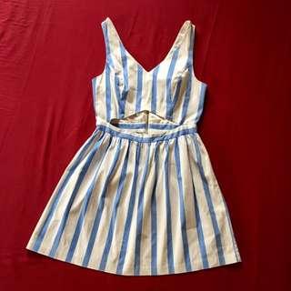 Forever 21 pinstripe cutout dress