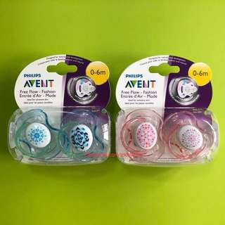 🌈(Ready Stock) 🆕Brand New Philips Avent Contemporary Free Flow Pacifier (Pack of 2) for 0-6m