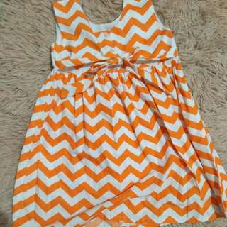 orange and white zigzag patterned dress. valentines sale!!! from 175-100