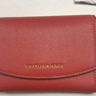 Charles & Keith 磚紅色small envelope wallet Brick 多格