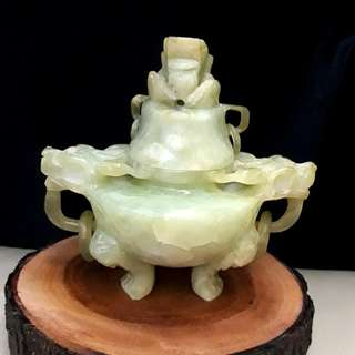 Antique Jade Dragon Incense Burner With Dragon Head Cover.