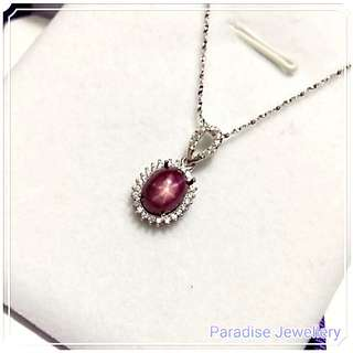 925純銀 星光紅寶石 吊墜 925 Sterling Sliver Star Ruby Pendant