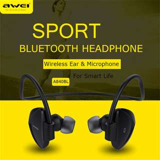 AWEI A840BL Sport Stereo In-Ear Headset Earphone 運動藍牙耳機 Support NFC for Smartphones For iPhone