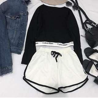 Black Pullover Semicrop + HW Shorts ‼️