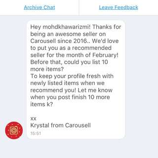 RECOMMENDED SELLER FROM OFFICIAL CAROUSELL TEAM