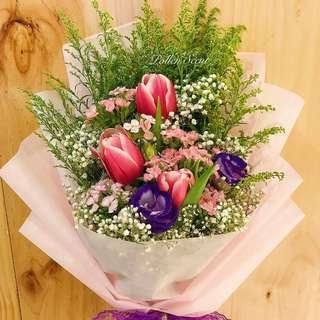 3 stalk pink tulip