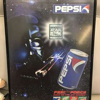 Star War and Pepsi advertisement poster in frame