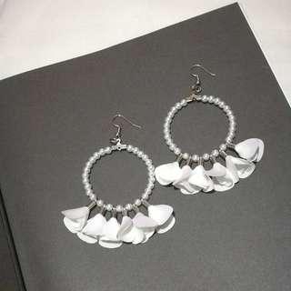 Beaded Flower Hoop Earrings in White