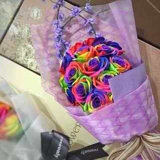 Flower Bouquet: 20 Rainbow Roses