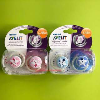 🌈(Ready Stock) 🆕Brand New Philips Avent Nighttime Orthodontic Pacifiers 6-18M - Pink/White or Blue/White (Pack of 2)