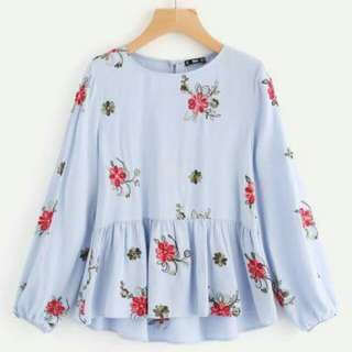 Pastel Top with Flower Design