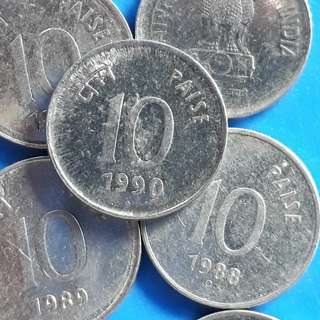 10 COINS LOT - 10 Paise stainless Steel 1988 1989 1990 1991 aUNC / UNC - india