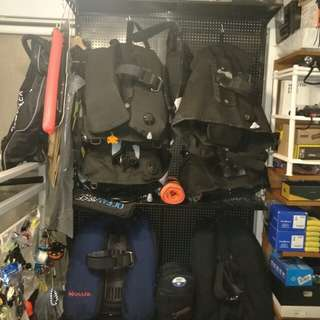 Dive Diving Scuba bcd's..  Jacket..  Backinflate..  Backplate..  Softplate..  Individual listings to come soon