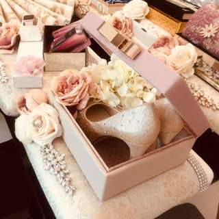 Shoe in pink leather box gift set on songket tray