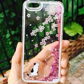 Iphone6 手機硬殻 櫻花貓流沙硬殻