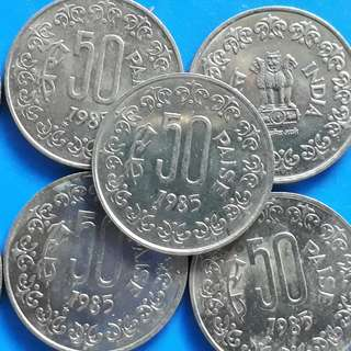 10 COINS LOT - 50 Paise - 1985 ( Seoul Mint , South Korea ) - BU / UNC - india