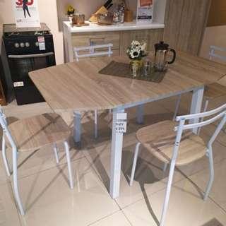 INFORMA Juno Extendable Table Set w/ 4 Chair Oak