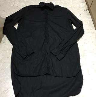Authentic BN Zara Black Long Sleeves Shirt Uneven Hem Small