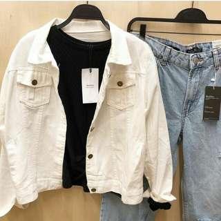 Jacket jeans berskha white