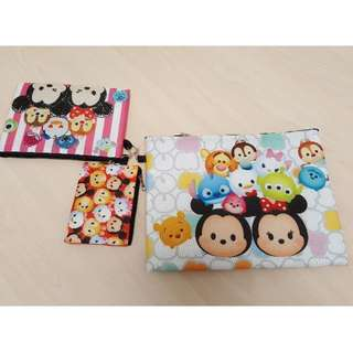 Disney Tsum Tsum Non Woven Folder Pouch Trio Set For Stationery, Cards, Coins