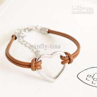 Hollow Heart PU leather black bracelet