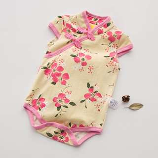 Chinese New Year Baby Romper , CNY floral baby romper, CNY baby dress