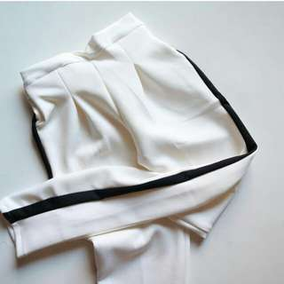bkk strip pants white