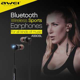 AWEI A990BL Stereo In-Ear Headset Earphone Earbuds 運動藍牙耳機 Support Hands-free Calling for Smartphones For iPhone