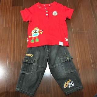 1 set of Red Shirt with black jeans